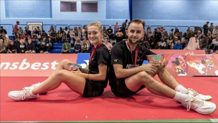 Exmouth's Ben Lane and Telfords Jess Pugh after their 2019 Polish Open victory. Picture: ENGLAND BAD