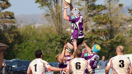 Jack Fahy in action at the lineout during the Cockles win over Camborne. Picture JASON FAHY