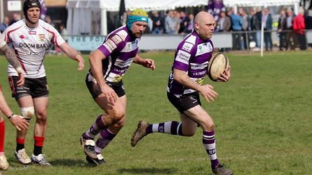 Mark Wathes, supported by Mike Richards, scores one of his two tries in the win over Camborne. Pictu
