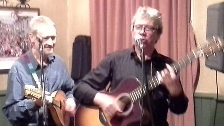 Exmouth bluesmen Dave Gwilliam and Olly Davy. Picture: Bicton Street Blues