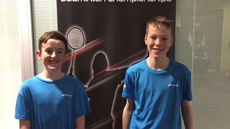 Jonty Wright (left) and Andrew Harrison at the Badminton U15 National Championships who finished in