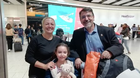 Josep and his wife Patrice, with their six-year-old daughter Natalia. Picture courtesy of Jane Treth