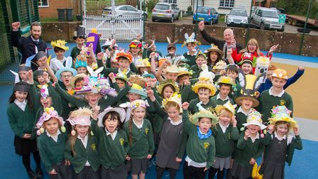 Easter bonnet parade at Drakes primary school. Ref exe 14 19TI 1714. Picture: Terry Ife