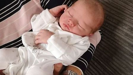 Mrs Evans' new baby grandson, born at Royal Devon and Exeter and Hospital on April 15.