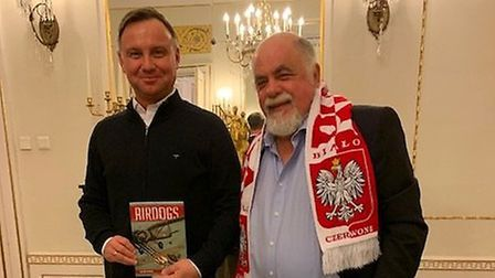 Tim Holden (right) visiting the palace of president Andrzej Duda, in Warsaw, Poland. Picture: Tim Ho