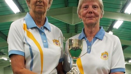 Gooding three-wood winners Sue lampey and Sandie Cox. Picture MADEIRA BOWLS CLUB