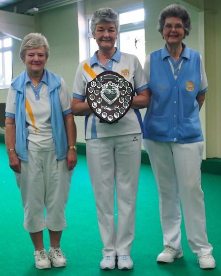 Dora Wilson two-wood triples winners Myra Furminger, Catherine King and Fay Hughes. Picture MADEIRA