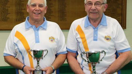 Francis Newton Open Handicap singles winner Rob Walker (right) and Graham Clarkson. Picture MADEIRA