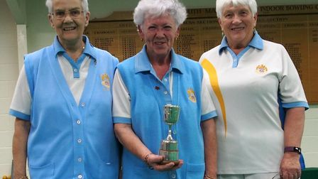 Self-select triples runners-up Jill Perrin, Joy Penberthy and Dee Norman. Picture MDEIRA BOWLS CLUB
