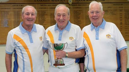 Keith Ewins tiples winnrers, Cliff Skinner, Mike Gorman and Terry Reardon. Picture MADEIRA BOWLS CLU