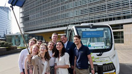 Jess (holding the selfie stick) with the other representatives at the Europesn Commission in Brussel