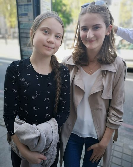 Jess Nicholls (right) with Greta Thunberg who kick started the global climate change campaign. Pictu