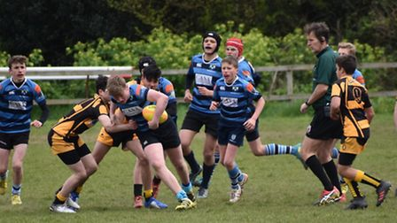 Action from the Devon RFU Under-14 cup final between Topsham and Crediton.