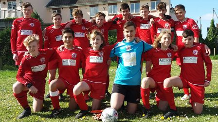 Exmouth United Under-14s after their title win in Division Two of the Exeter and District Youth Leag