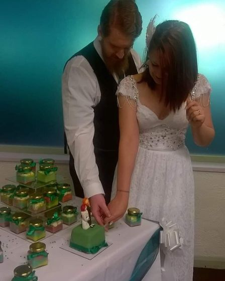 Sam and Laura on their wedding day. Picture: Laura West