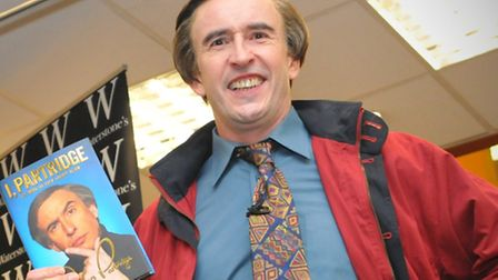 """Alan Partridge at Waterstones Norwich to promote his autobiography """" I Partridge """" with a reading an"""