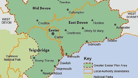The Greater Exeter Strategic Plan area. Picture: LDRS