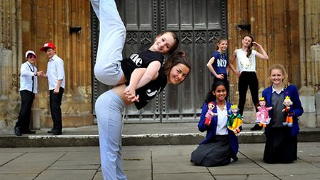 Dancers, puppeteers and actors prepare for the Young Norfolk arts festival at Norwich School. Photo