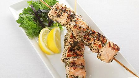 Salmon skewers, just one of our three special salmon recipes this week