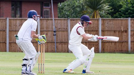 Sam Read batting for Clyst St George 1st team at home to Honiton 1sts. Ref exsp 24 19TI 6411. Pictur