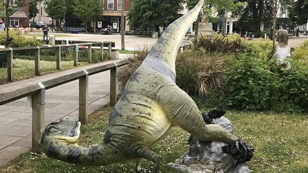 The damaged dino in Exmouth. Picture: Daniel Wilkins