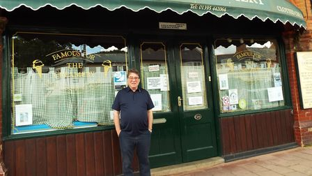 Tom Cavanagh outside his shop. Picture: Philippa Davies