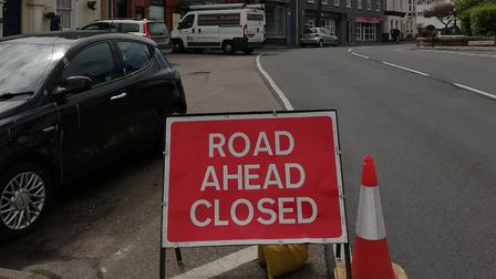 One of the Road Closed signs on the main street. Picture: Tom Cavanagh