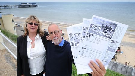 Cromer Town Council questionaire. Town clerk Julie Chance and councillor Tim Bartlett. PHOTO: ANTONY