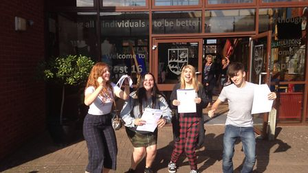 Holly Thompson, Millie Hope, Abi Seymour and Josh Mahoney celebrating their results. Picture: Daniel