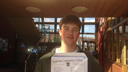 Nathaniel Hawkins with his results. Picture: Daniel Wilkins