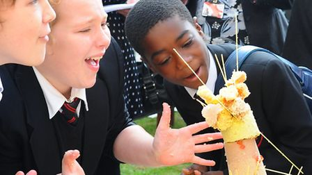 School children take part in the tallest jelly competition at the Institute of Food Research. City A