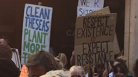 Climate change protestors in Exeter. Picture: Daniel Wilkisn