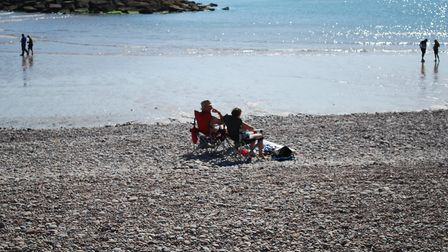 Enjoying the Indian summer at Sidmouth. Picture: Mark Eburne