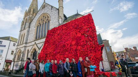 The wall of poppies handknitted in Exmouth. Picture: Jean Holden
