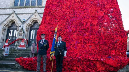 The official launch of the poppy display at the former Tower Street Methodist Church. Picture: Jean