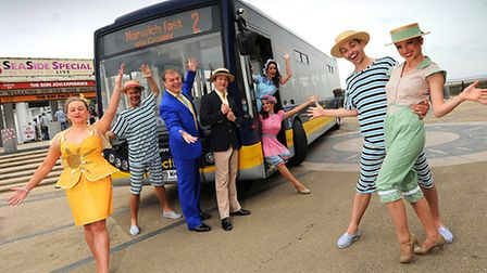 Cast members launch the Cromer Pier Summer Seaside Special bus service.PHOTO: ANTONY KELLY