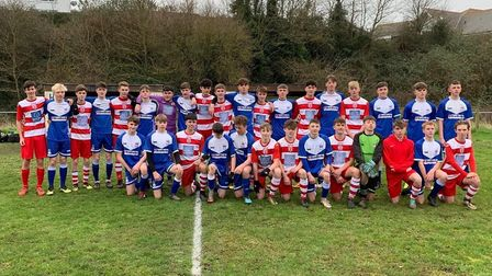 Exmouth Town and Exmouth United Under-16 teams who met in an Exeter & District Youth League game tha