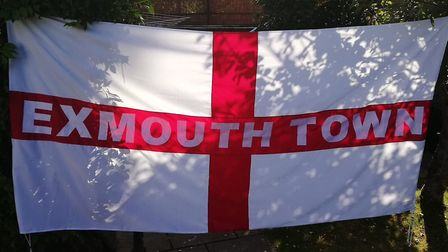 The Exmouth Town flag that can be seen at home and away games. Picture MARTIN COOK
