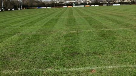 The Southern Road pitch after plenty of TLC (tender loving care) from John Dibsdall ahead of Saturda