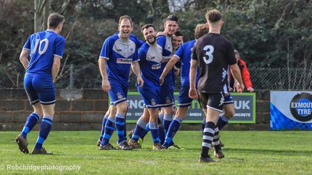 Exmouth Town players celebrate one of their seven goals in the win over Chipping Sodbury Town. Pictu