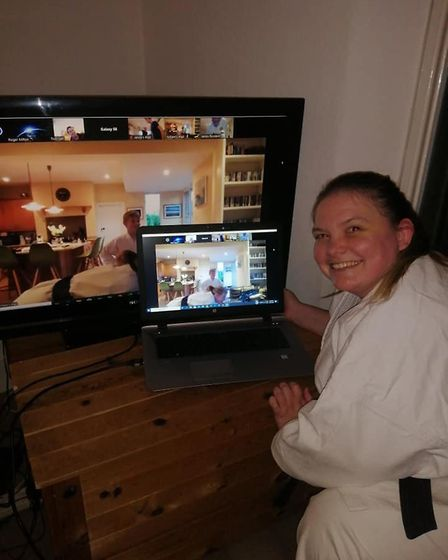 Lympstone Karate Club chief instructor Sensei Marianne Fox setting up an online session. Picture: L