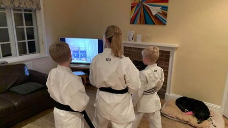 One set of family members taking part in the Lympstone Karate Club online training sessions. Picture