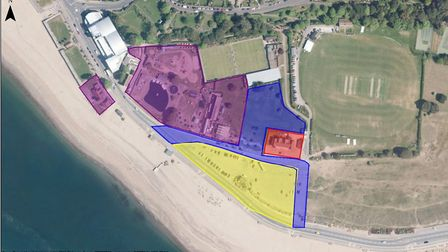 Colour-coded image showing the phases of East Devon District Council's Queen's Drive redevelopment p