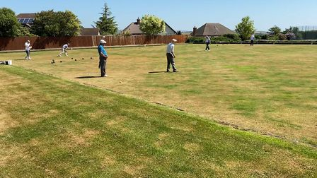 Budleigh bowlers enjoying pefect conditions at the club's CricketField Lane home. Picture BSBC