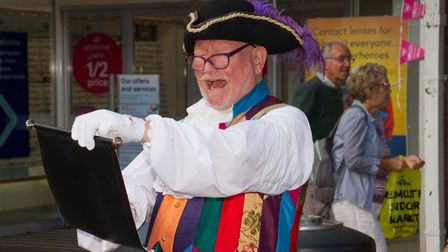 Town Crier Roger Bourgein at the Steve Gazzard organ donor sign up event that has resulted in over 6