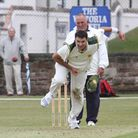 Budleigh bowler Joel Murphy in action at the Fortfield on Saturday. Photo by Simon Horn. Ref exsp 12