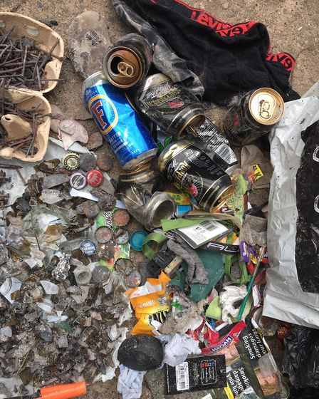 Items found during a beach clean in Budleigh. Picture: Marta Marcota