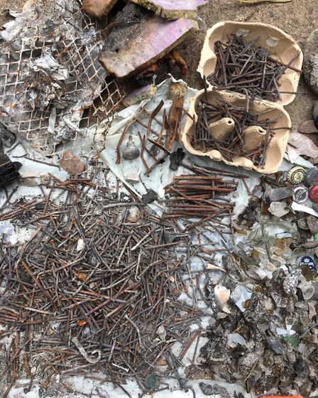Itesm found during a beach clean in Budleigh. Picture: Marta Marcota
