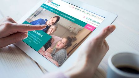 The new Hospiscare website being access on a mobile device. Picture: Hospiscare