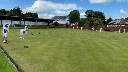 Budleigh bowlers in action during club competition matches. Picture: DAVID ROBERTS